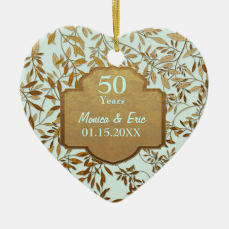 Leaves of Gold 50th Wedding Anniversary Christmas Ornament