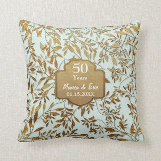Leaves of Gold 50th Wedding Anniversary Cushion