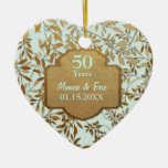 Leaves of Gold 50th Wedding Anniversary Ceramic Heart Decoration