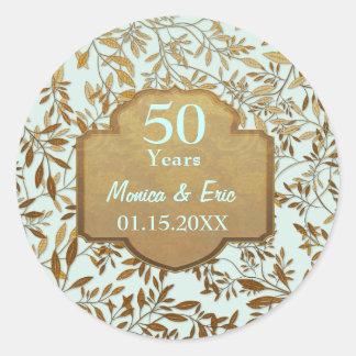 Leaves of Gold 50th Wedding Anniversary Round Sticker