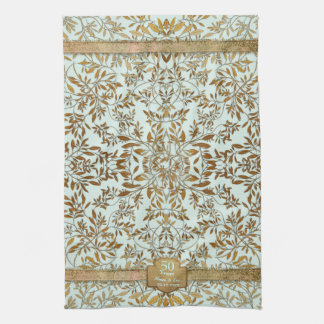 Leaves of Gold 50th Wedding Anniversary Tea Towel