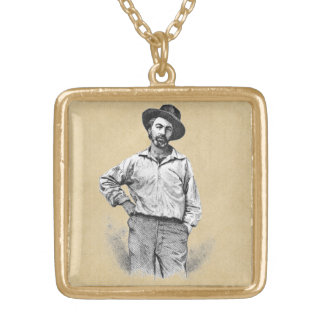 Leaves of Grass Portrait of Walt Whitman Gold Plated Necklace