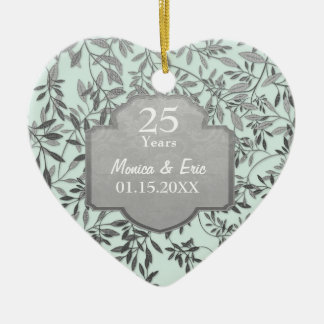 Leaves of Silver 25th Wedding Anniversary Ceramic Heart Decoration