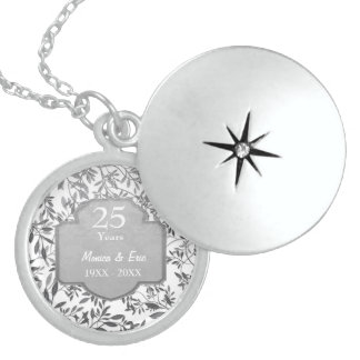 Leaves of Silver 25th Wedding Anniversary Locket Necklace