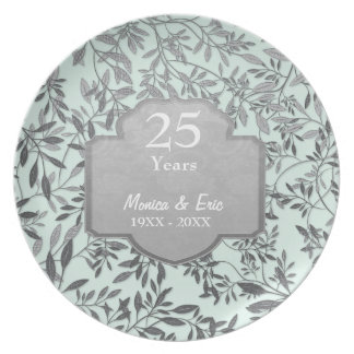 Leaves of Silver 25th Wedding Anniversary Plate