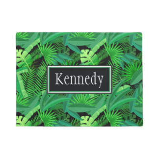 Leaves Of Tropical Palm Trees | Add Your Name Doormat