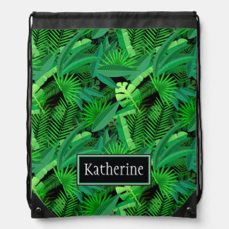 Leaves Of Tropical Palm Trees | Add Your Name Drawstring Bag