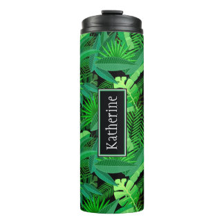 Leaves Of Tropical Palm Trees | Add Your Name Thermal Tumbler