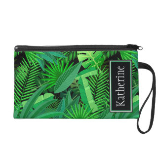 Leaves Of Tropical Palm Trees | Add Your Name Wristlet