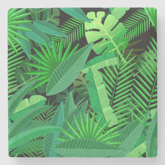 Leaves Of Tropical Palm Trees Stone Coaster