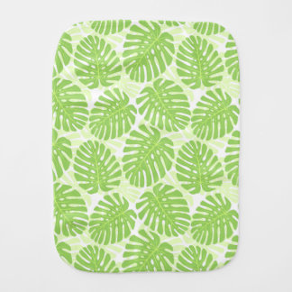 Leaves Of Tropical Plant - Monstera Pattern Baby Burp Cloths
