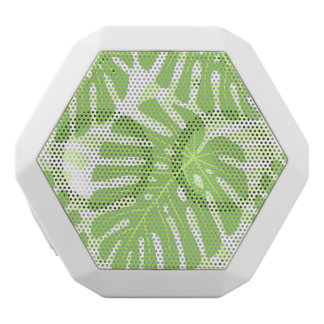 Leaves Of Tropical Plant - Monstera Pattern White Boombot Rex Bluetooth Speaker