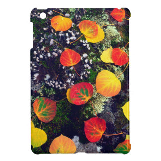 Leaves on a lichen covered rock, Rocky Mountains Case For The iPad Mini