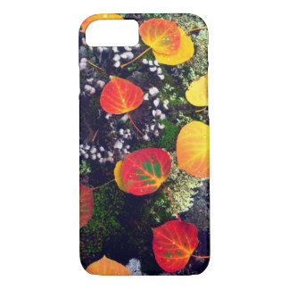 Leaves on a lichen covered rock, Rocky Mountains iPhone 8/7 Case