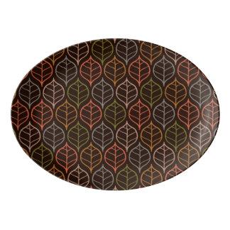 Leaves pattern porcelain serving platter