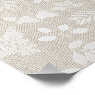 LEAVES Pattern with Linen Texture Background Poster