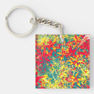 Leaves red green yellow and white Single-Sided square acrylic key ring