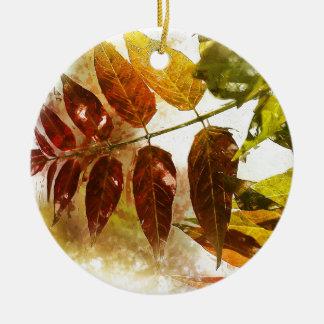 Leaves Round Ceramic Decoration