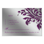 Leaves RSVP Wedding Reply Card Purple Sparkle Personalized Announcements