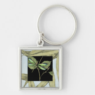 Leaves with Dragonfly Inset by Jennifer Goldberger Keychain