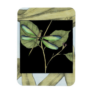 Leaves with Dragonfly Inset by Jennifer Goldberger Rectangular Photo Magnet