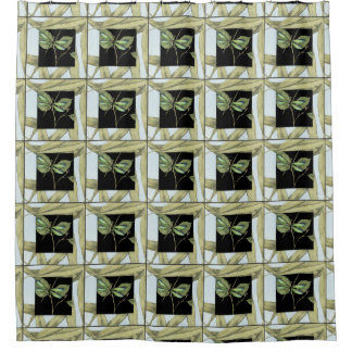 Leaves with Dragonfly Inset by Jennifer Goldberger Shower Curtain