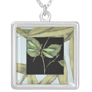 Leaves with Dragonfly Inset by Jennifer Goldberger Silver Plated Necklace