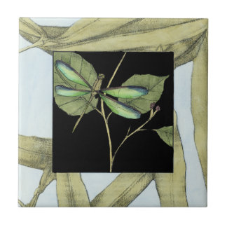 Leaves with Dragonfly Inset by Jennifer Goldberger Tile