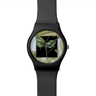 Leaves with Dragonfly Inset by Jennifer Goldberger Wristwatches