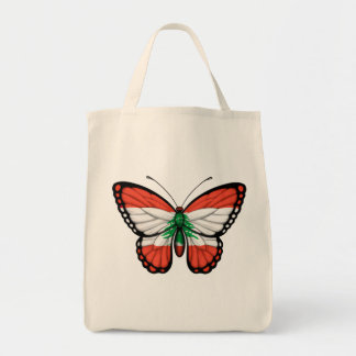Lebanese Butterfly Flag Tote Bags