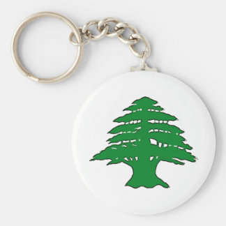 Lebanese Cedar Basic Round Button Key Ring