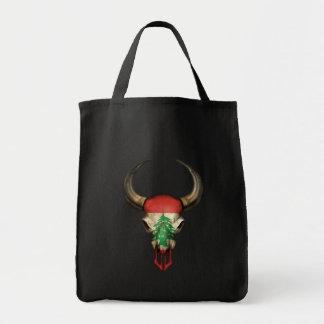 Lebanese Flag Bull Skull Bags