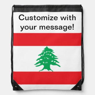 Lebanese Flag Drawstring Backpacks