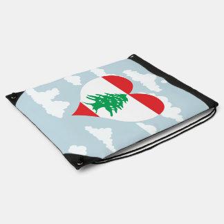 Lebanese Flag on a cloudy background Drawstring Backpacks