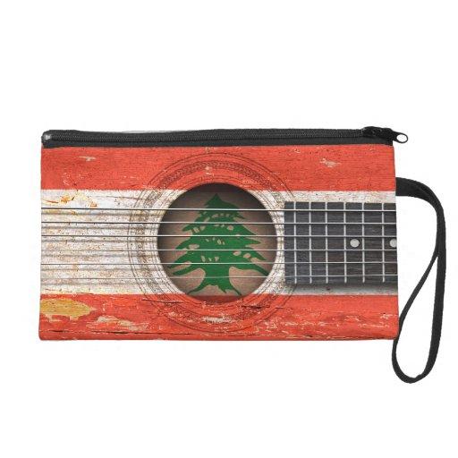 Lebanese Flag on Old Acoustic Guitar Wristlets