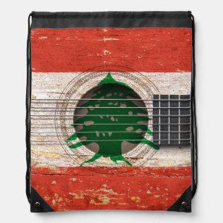 Lebanese Flag on Old Acoustic Guitar Rucksacks