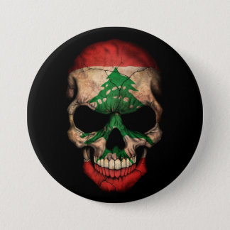 Lebanese Flag Skull on Black 7.5 Cm Round Badge