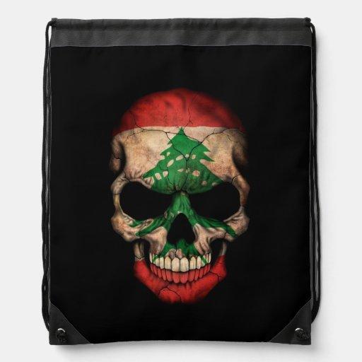 Lebanese Flag Skull on Black Drawstring Backpacks
