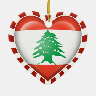 Lebanese Heart Flag with Sun Rays Christmas Ornament