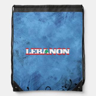 Lebanese name and flag on cool wall drawstring backpacks