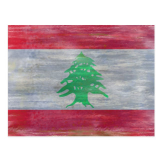 Lebanon distressed Lebanese flag Postcard