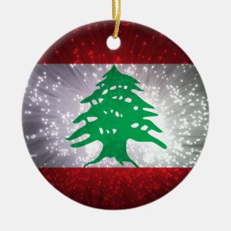 Lebanon Flag Firework Christmas Ornament