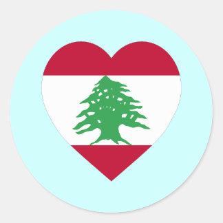 Lebanon Flag Heart Classic Round Sticker