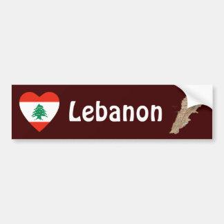 Lebanon Flag Heart + Map Bumper Sticker