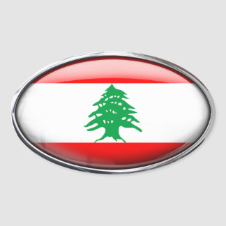 Lebanon Flag in Glass Oval (pack of 4) Oval Sticker
