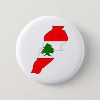 Lebanon Flag Map full size 6 Cm Round Badge