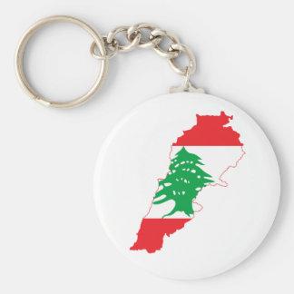 Lebanon Flag Map Basic Round Button Key Ring