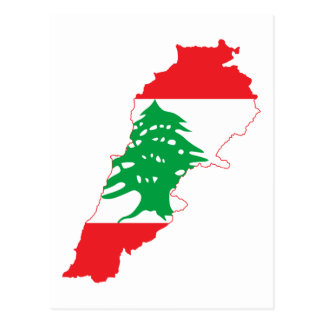 Lebanon Flag Map Postcard
