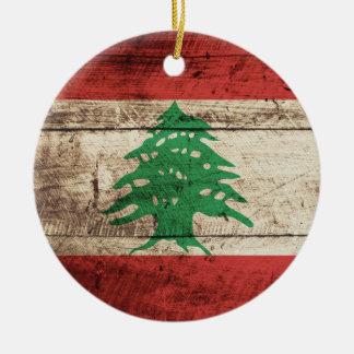 Lebanon Flag on Old Wood Grain Christmas Ornament