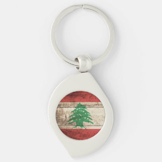Lebanon Flag on Old Wood Grain Silver-Colored Swirl Key Ring